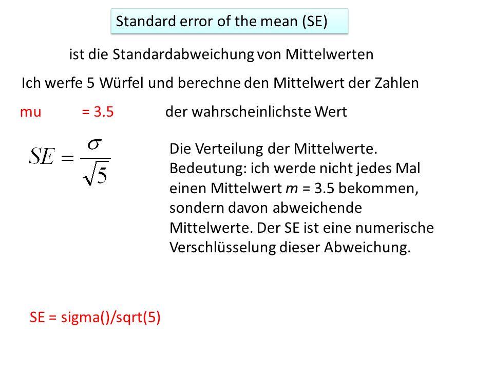 Standard error of the mean (SE) ist die Standardabweichung von Mittelwerten Ich werfe 5 Würfel und berechne den Mittelwert der Zahlen mu= 3.5der wahrscheinlichste Wert Die Verteilung der Mittelwerte.