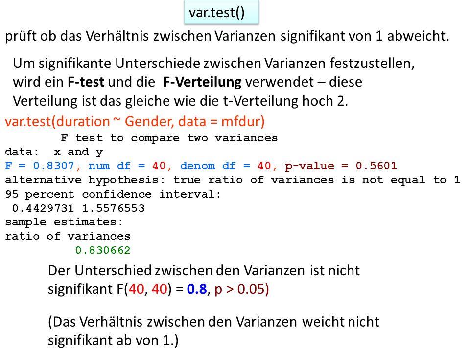 var.test() prüft ob das Verhältnis zwischen Varianzen signifikant von 1 abweicht. Um signifikante Unterschiede zwischen Varianzen festzustellen, wird