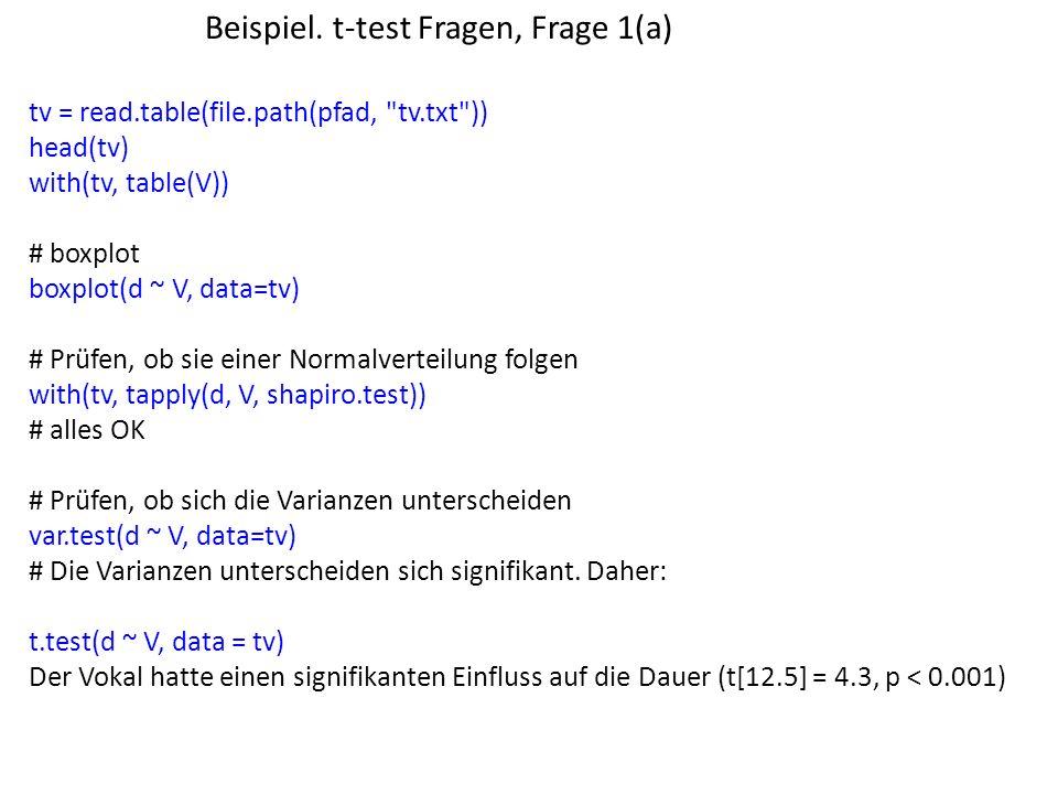 Beispiel. t-test Fragen, Frage 1(a) tv = read.table(file.path(pfad,