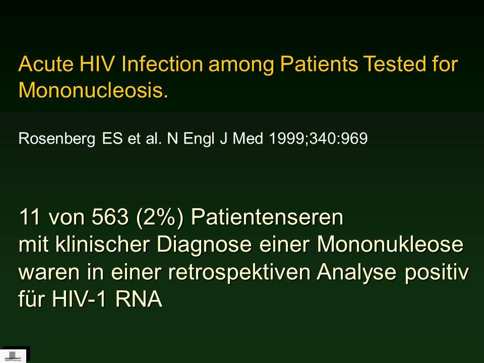 Acute HIV Infection among Patients Tested for Mononucleosis. Rosenberg ES et al. N Engl J Med 1999;340:969 11 von 563 (2%) Patientenseren mit klinisch