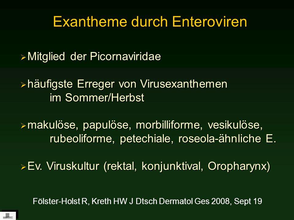 Exantheme durch Enteroviren Mitglied der Picornaviridae Mitglied der Picornaviridae häufigste Erreger von Virusexanthemen im Sommer/Herbst häufigste E