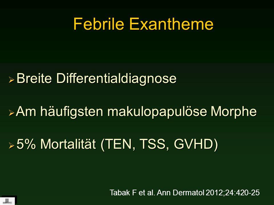 Febrile Exantheme Breite Differentialdiagnose Breite Differentialdiagnose Am häufigsten makulopapulöse Morphe Am häufigsten makulopapulöse Morphe 5% M