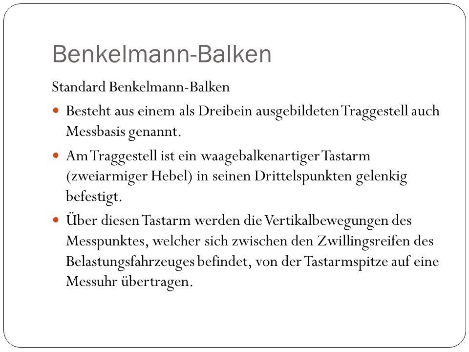 Benkelmann-Balken Standard Benkelmann-Balken Besteht aus einem als Dreibein ausgebildeten Traggestell auch Messbasis genannt. Am Traggestell ist ein w