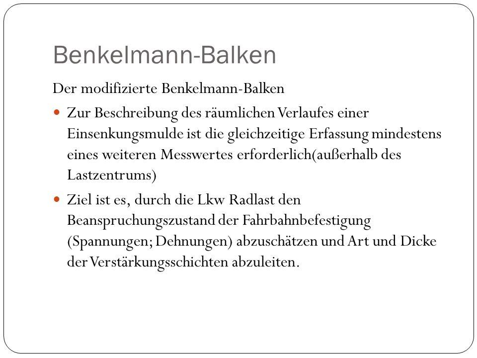 Der modifizierte Benkelmann-Balken Zur Beschreibung des räumlichen Verlaufes einer Einsenkungsmulde ist die gleichzeitige Erfassung mindestens eines w