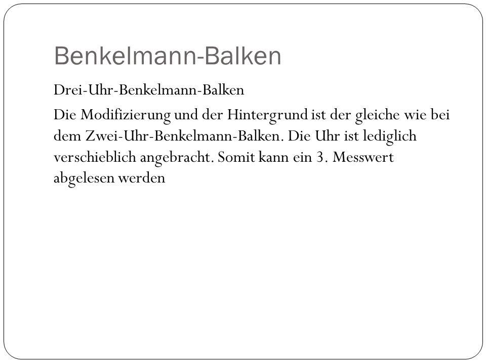 Benkelmann-Balken Drei-Uhr-Benkelmann-Balken Die Modifizierung und der Hintergrund ist der gleiche wie bei dem Zwei-Uhr-Benkelmann-Balken. Die Uhr ist