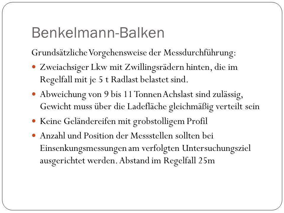 Benkelmann-Balken Grundsätzliche Vorgehensweise der Messdurchführung: Zweiachsiger Lkw mit Zwillingsrädern hinten, die im Regelfall mit je 5 t Radlast