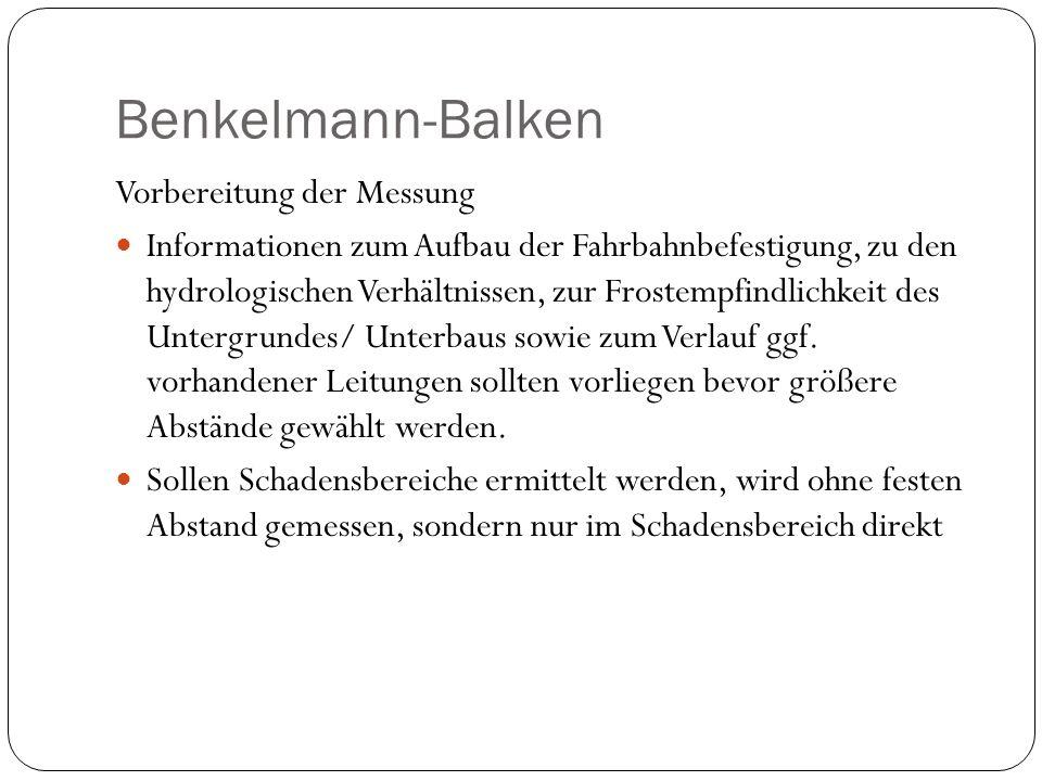 Benkelmann-Balken Vorbereitung der Messung Informationen zum Aufbau der Fahrbahnbefestigung, zu den hydrologischen Verhältnissen, zur Frostempfindlich