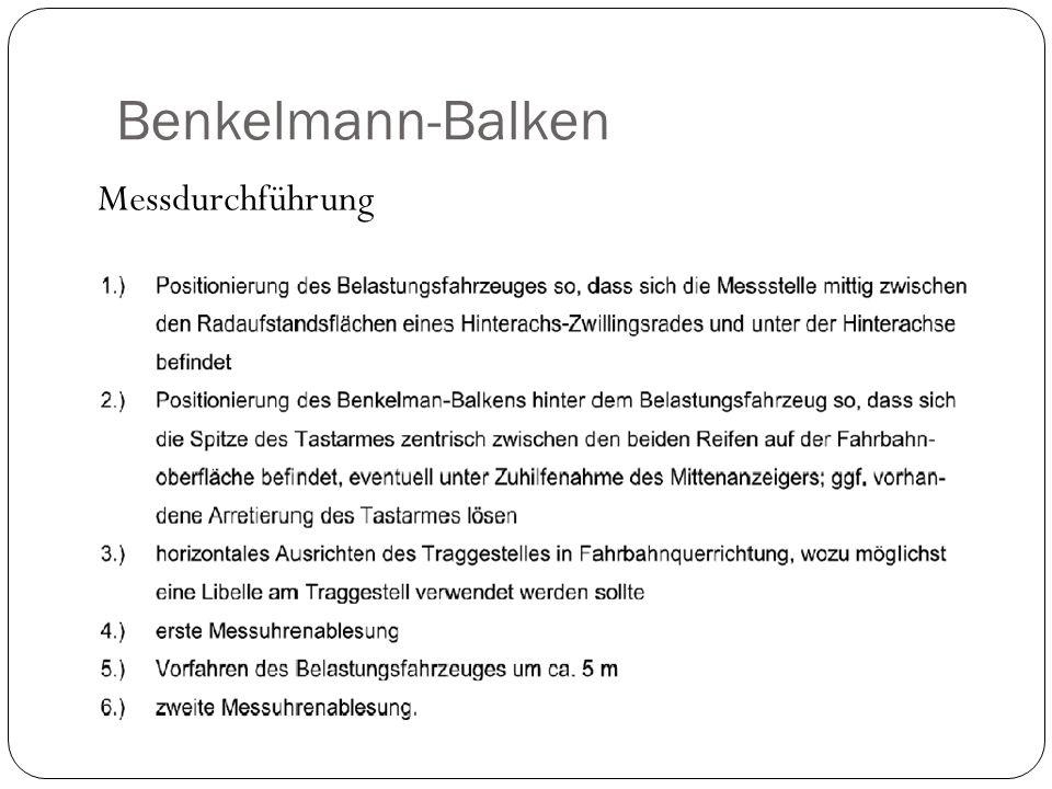Benkelmann-Balken Messdurchführung