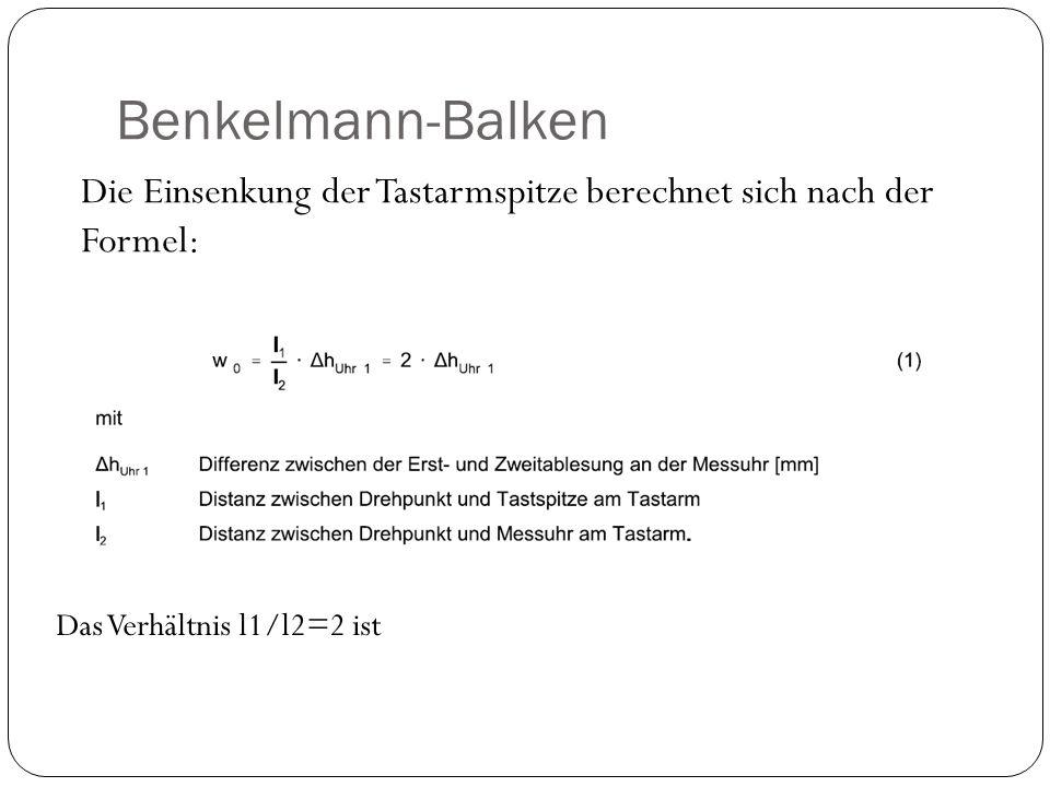 Benkelmann-Balken Die Einsenkung der Tastarmspitze berechnet sich nach der Formel: Das Verhältnis l1/l2=2 ist