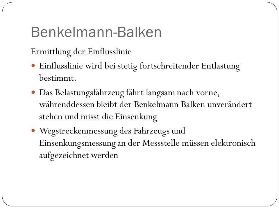 Benkelmann-Balken Ermittlung der Einflusslinie Einflusslinie wird bei stetig fortschreitender Entlastung bestimmt. Das Belastungsfahrzeug fährt langsa