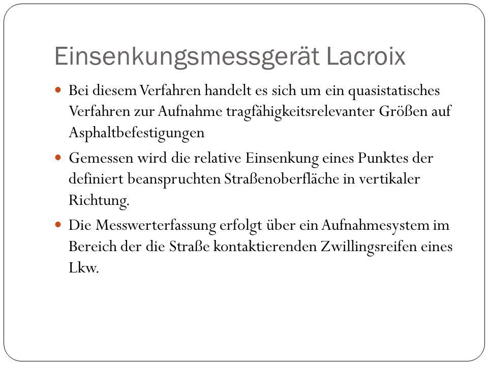 Einsenkungsmessgerät Lacroix Bei diesem Verfahren handelt es sich um ein quasistatisches Verfahren zur Aufnahme tragfähigkeitsrelevanter Größen auf As