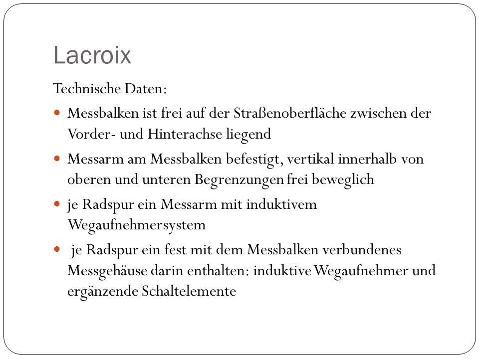 Lacroix Technische Daten: Messbalken ist frei auf der Straßenoberfläche zwischen der Vorder- und Hinterachse liegend Messarm am Messbalken befestigt,