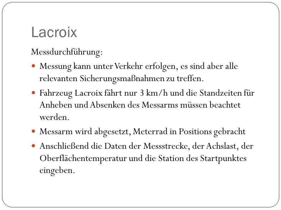 Lacroix Messdurchführung: Messung kann unter Verkehr erfolgen, es sind aber alle relevanten Sicherungsmaßnahmen zu treffen. Fahrzeug Lacroix fährt nur