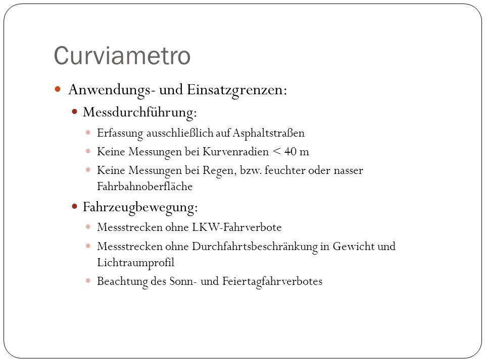 Curviametro Anwendungs- und Einsatzgrenzen: Messdurchführung: Erfassung ausschließlich auf Asphaltstraßen Keine Messungen bei Kurvenradien < 40 m Kein