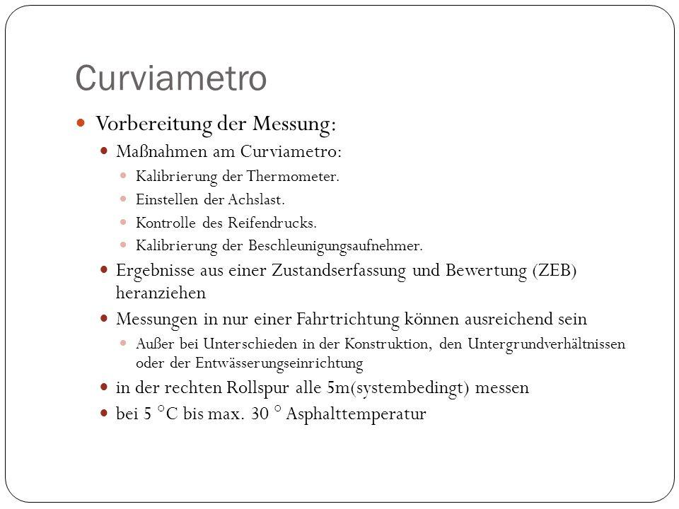 Curviametro Vorbereitung der Messung: Maßnahmen am Curviametro: Kalibrierung der Thermometer. Einstellen der Achslast. Kontrolle des Reifendrucks. Kal