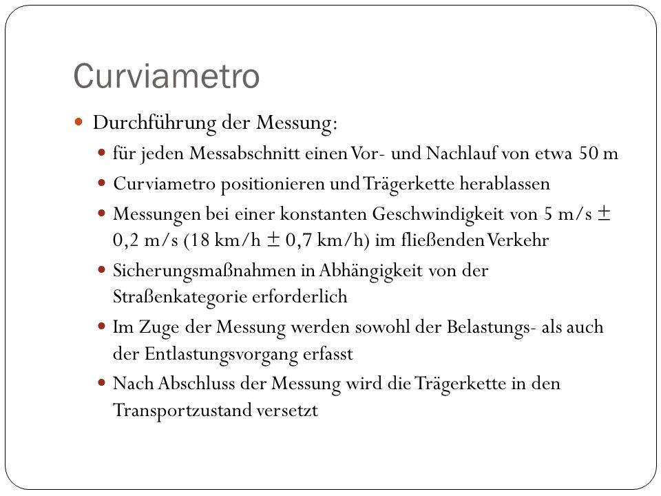Curviametro Durchführung der Messung: für jeden Messabschnitt einen Vor- und Nachlauf von etwa 50 m Curviametro positionieren und Trägerkette herablas