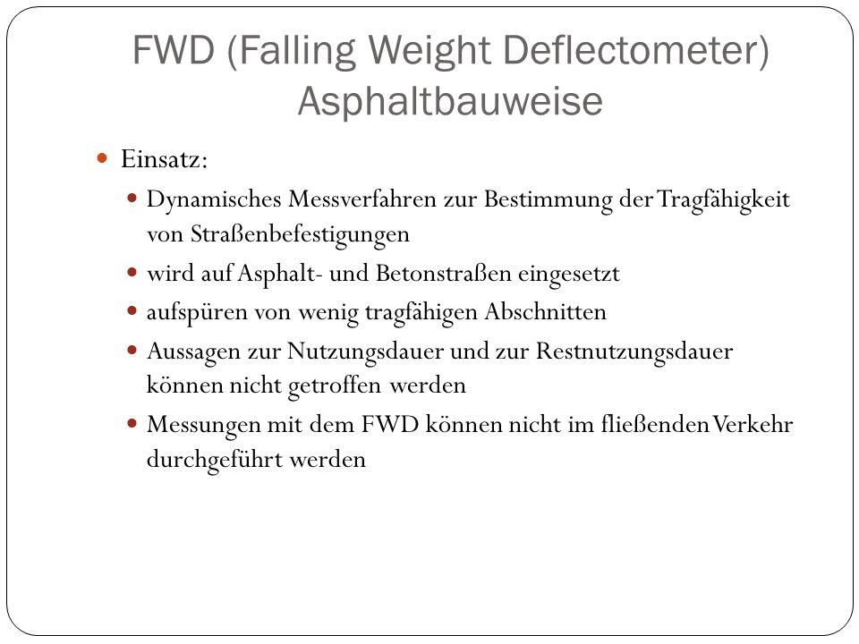 FWD (Falling Weight Deflectometer) Asphaltbauweise Einsatz: Dynamisches Messverfahren zur Bestimmung der Tragfähigkeit von Straßenbefestigungen wird a