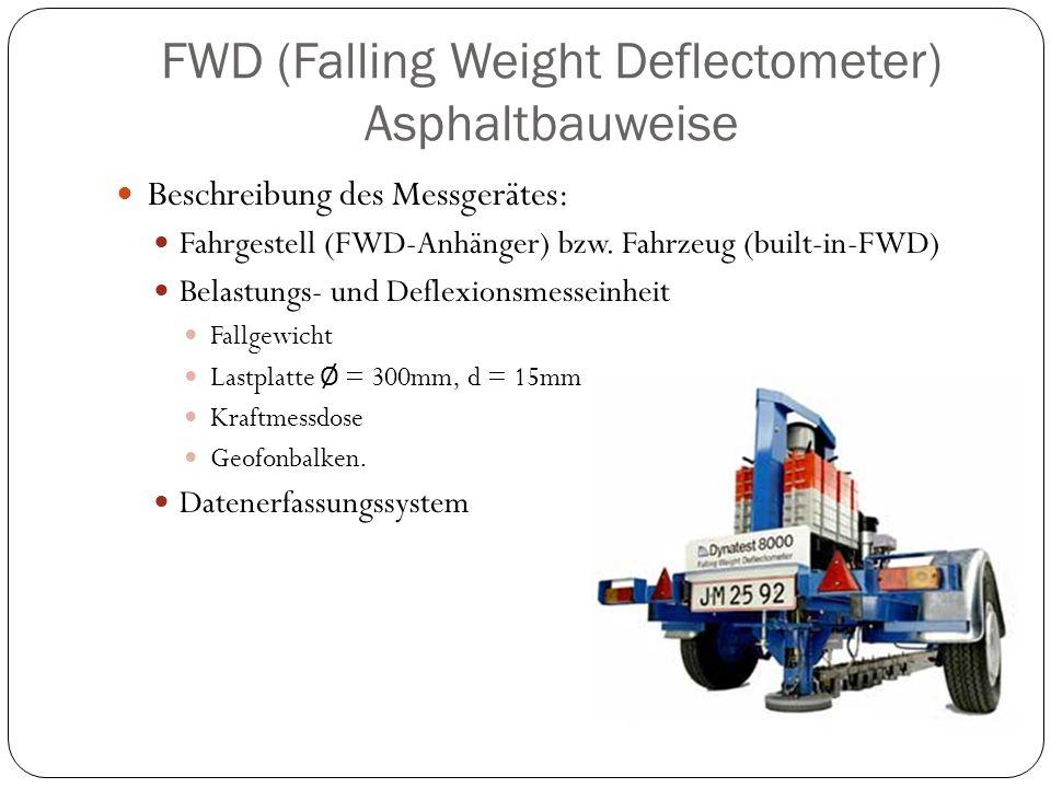 Beschreibung des Messgerätes: Fahrgestell (FWD-Anhänger) bzw. Fahrzeug (built-in-FWD) Belastungs- und Deflexionsmesseinheit Fallgewicht Lastplatte Ø =
