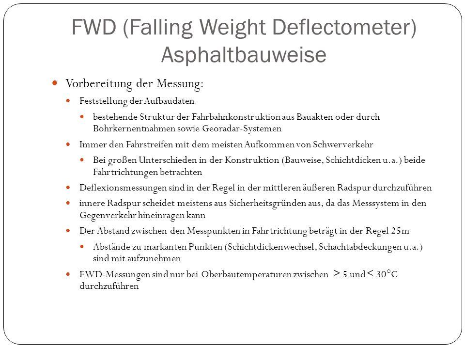 FWD (Falling Weight Deflectometer) Asphaltbauweise Vorbereitung der Messung: Feststellung der Aufbaudaten bestehende Struktur der Fahrbahnkonstruktion