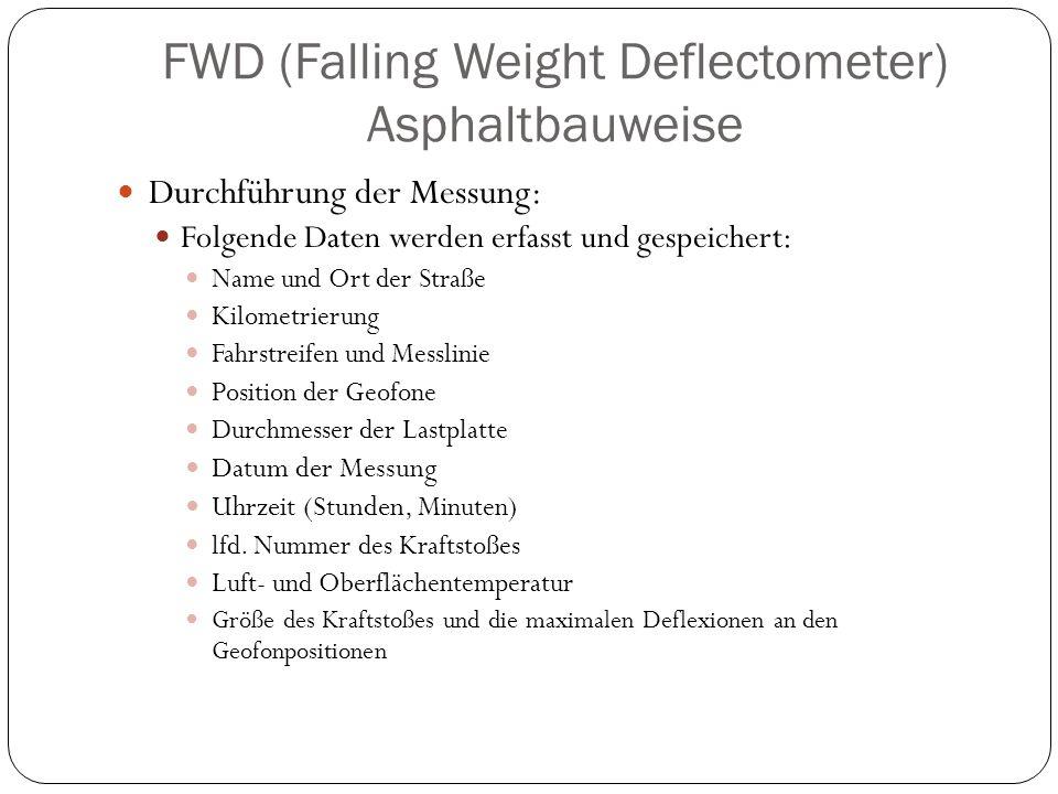 FWD (Falling Weight Deflectometer) Asphaltbauweise Durchführung der Messung: Folgende Daten werden erfasst und gespeichert: Name und Ort der Straße Ki