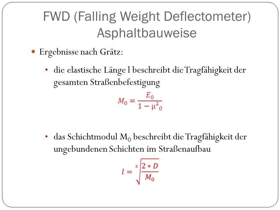 FWD (Falling Weight Deflectometer) Asphaltbauweise Ergebnisse nach Grätz: die elastische Länge l beschreibt die Tragfähigkeit der gesamten Straßenbefe