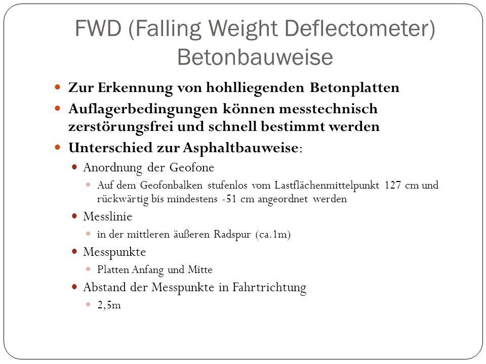 FWD (Falling Weight Deflectometer) Betonbauweise Zur Erkennung von hohlliegenden Betonplatten Auflagerbedingungen können messtechnisch zerstörungsfrei