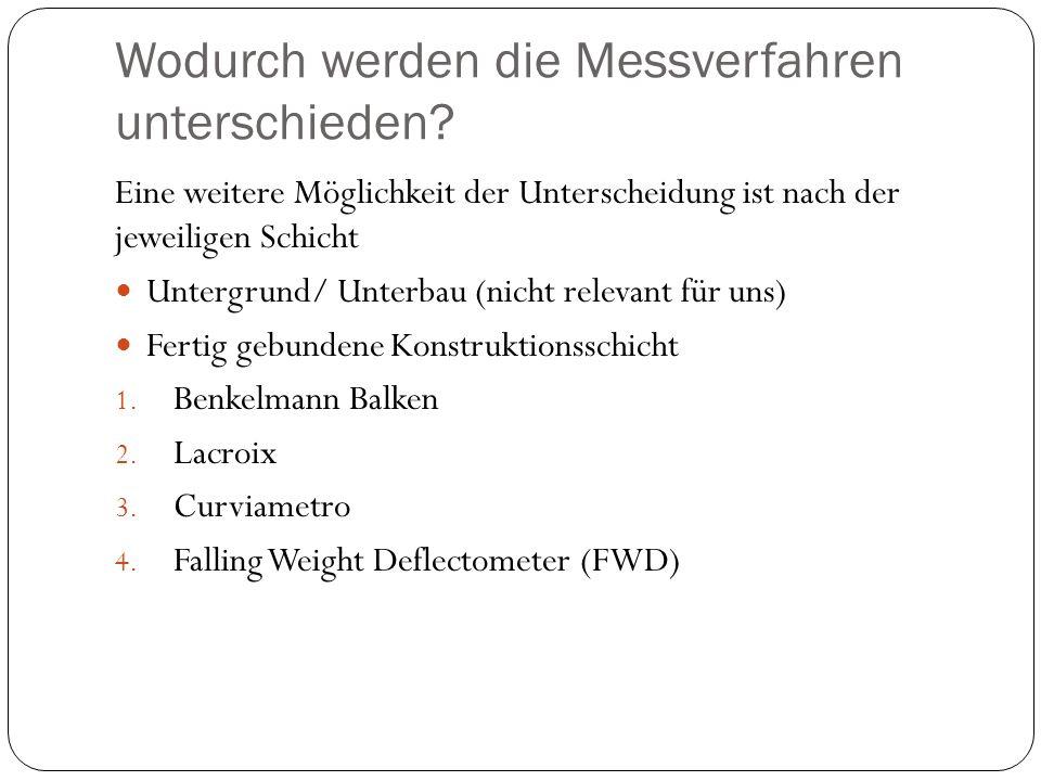 Wodurch werden die Messverfahren unterschieden? Eine weitere Möglichkeit der Unterscheidung ist nach der jeweiligen Schicht Untergrund/ Unterbau (nich