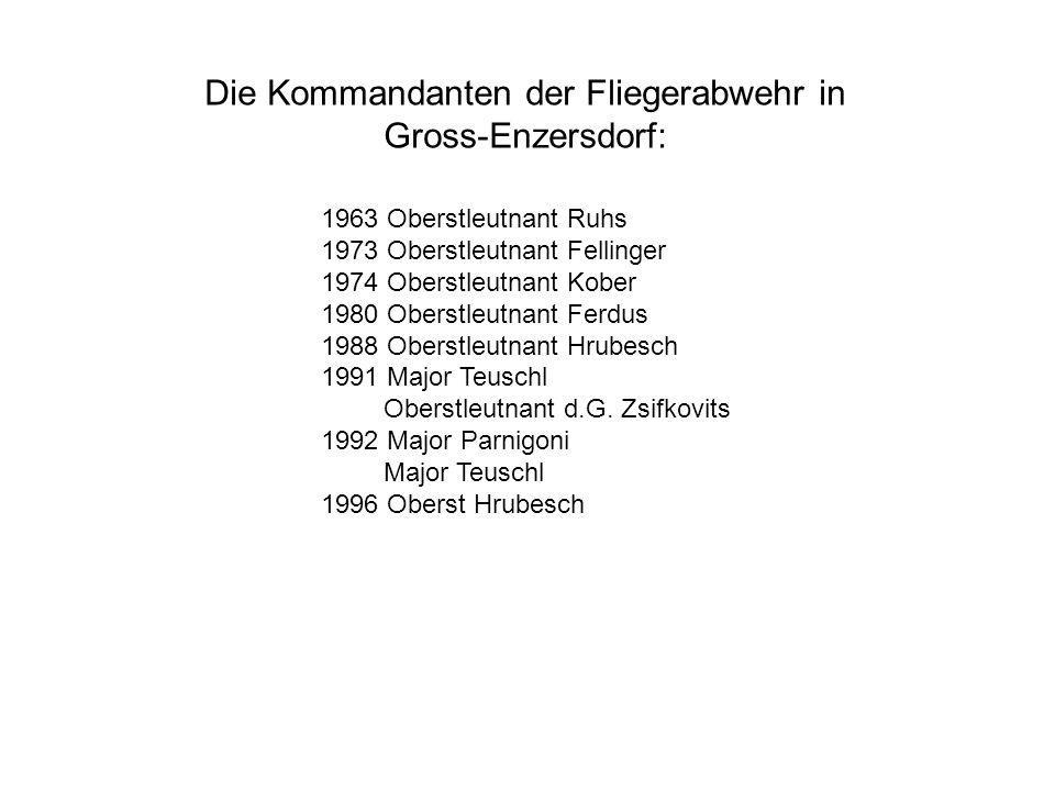Die Kommandanten der Fliegerabwehr in Gross-Enzersdorf: 1963 Oberstleutnant Ruhs 1973 Oberstleutnant Fellinger 1974 Oberstleutnant Kober 1980 Oberstle