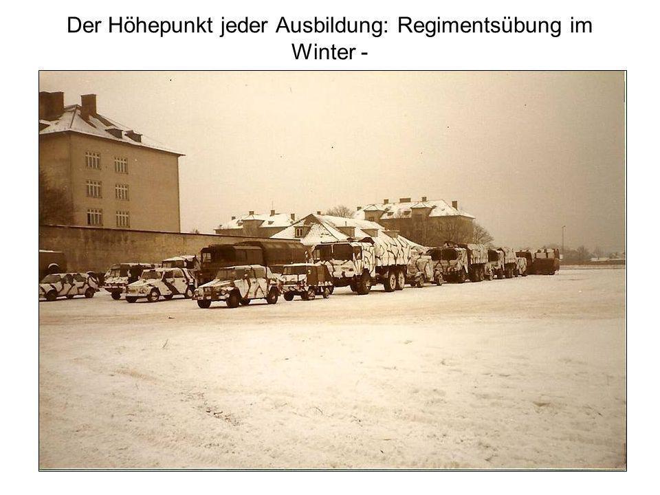 Der Höhepunkt jeder Ausbildung: Regimentsübung im Winter -