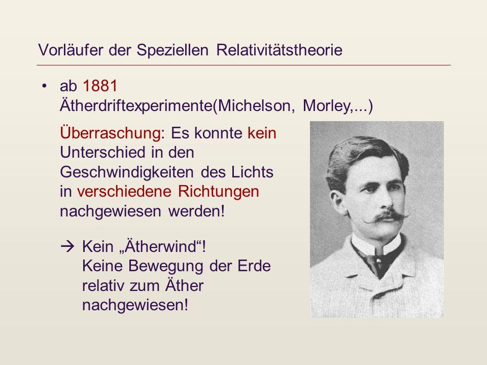 Vorläufer der Speziellen Relativitätstheorie ab 1881 Ätherdriftexperimente(Michelson, Morley,...) Überraschung: Es konnte kein Unterschied in den Gesc
