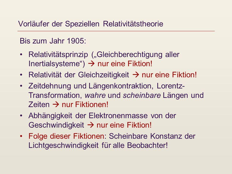Vorläufer der Speziellen Relativitätstheorie Bis zum Jahr 1905: Relativitätsprinzip (Gleichberechtigung aller Inertialsysteme) nur eine Fiktion! Relat