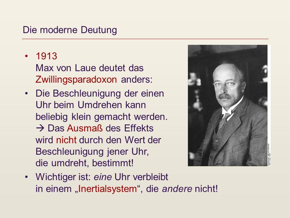 Die moderne Deutung 1913 Max von Laue deutet das Zwillingsparadoxon anders: Die Beschleunigung der einen Uhr beim Umdrehen kann beliebig klein gemacht