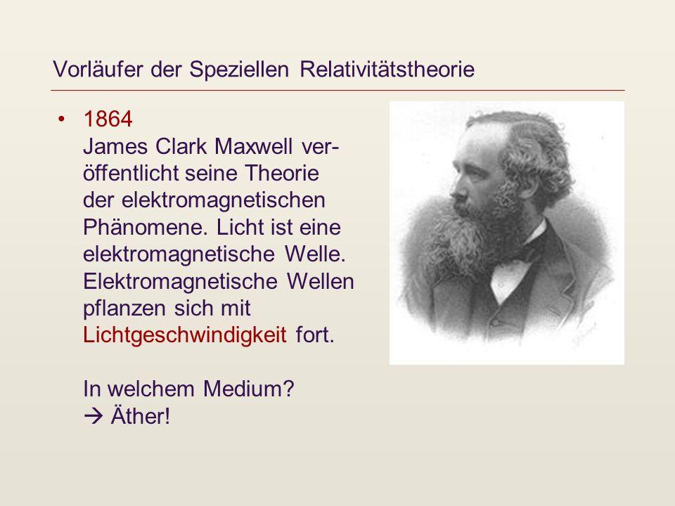 Vorläufer der Speziellen Relativitätstheorie 1864 James Clark Maxwell ver- öffentlicht seine Theorie der elektromagnetischen Phänomene. Licht ist eine