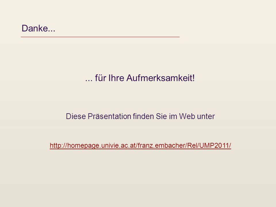 Danke...... für Ihre Aufmerksamkeit! Diese Präsentation finden Sie im Web unter http://homepage.univie.ac.at/franz.embacher/Rel/UMP2011/