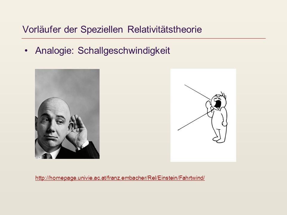 Analogie: Schallgeschwindigkeit http://homepage.univie.ac.at/franz.embacher/Rel/Einstein/Fahrtwind/ http://homepage.univie.ac.at/franz.embacher/Rel/Ei