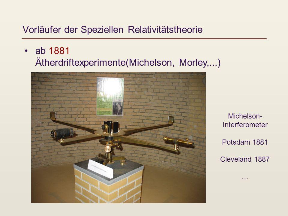 Vorläufer der Speziellen Relativitätstheorie ab 1881 Ätherdriftexperimente(Michelson, Morley,...) Überraschung: Es konnte kein Unterschied in den Geschwindigkeiten des Lichts in verschiedene Richtungen nachgewiesen werden.
