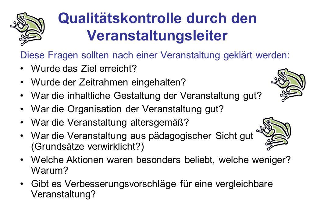 Qualitätskontrolle durch den Veranstaltungsleiter Diese Fragen sollten nach einer Veranstaltung geklärt werden: Wurde das Ziel erreicht? Wurde der Zei