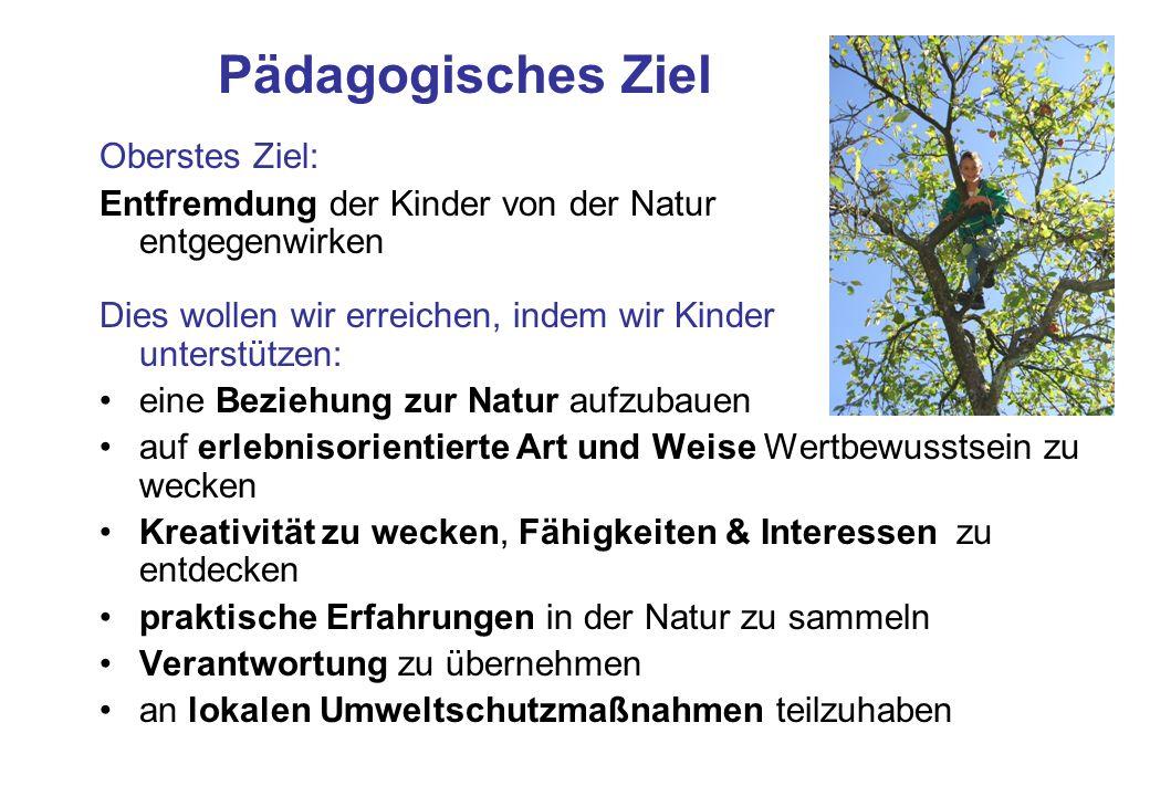 Pädagogisches Ziel Oberstes Ziel: Entfremdung der Kinder von der Natur entgegenwirken Dies wollen wir erreichen, indem wir Kinder unterstützen: eine B