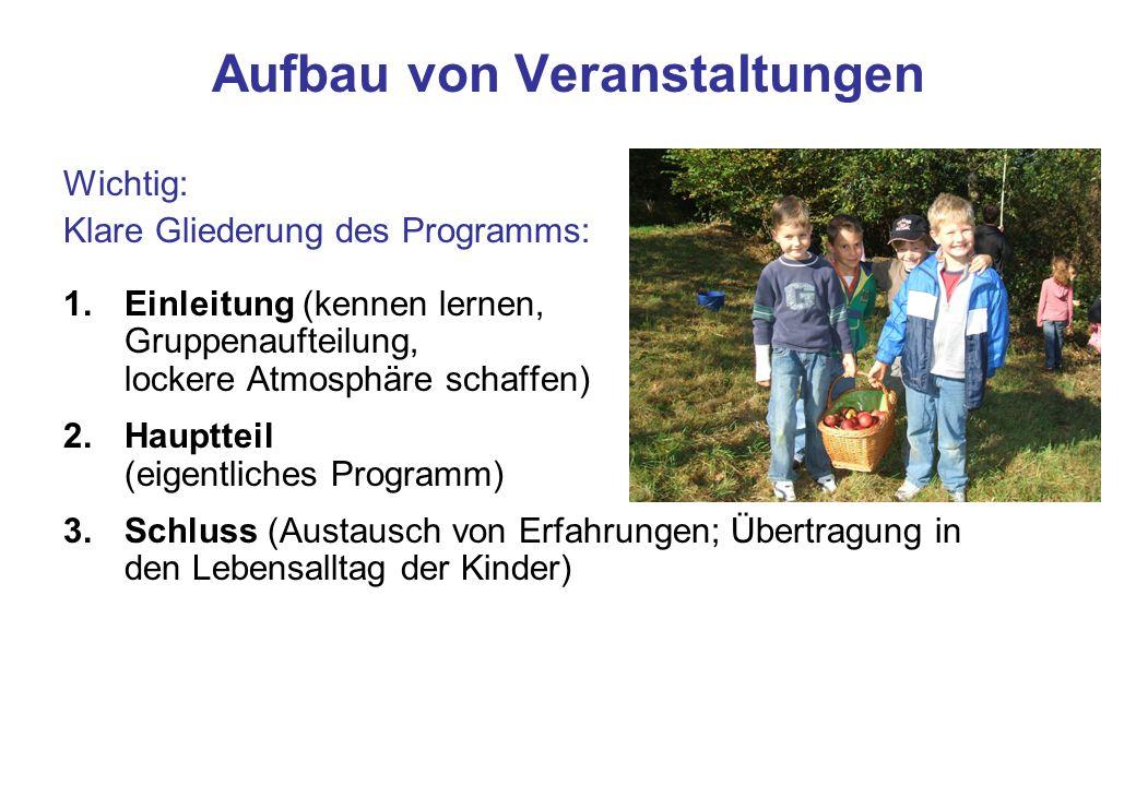 Aufbau von Veranstaltungen Wichtig: Klare Gliederung des Programms: 1.Einleitung (kennen lernen, Gruppenaufteilung, lockere Atmosphäre schaffen) 2.Hau