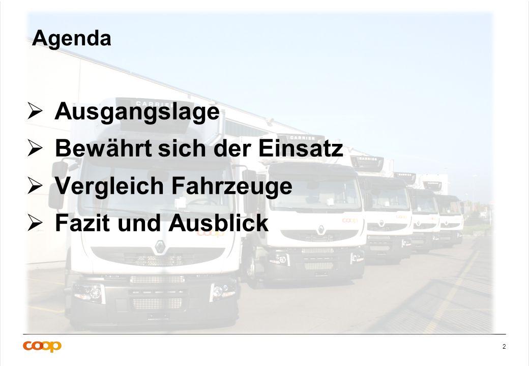 2 Agenda Ausgangslage Bewährt sich der Einsatz Vergleich Fahrzeuge Fazit und Ausblick