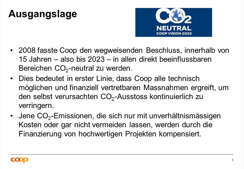 3 Ausgangslage 2008 fasste Coop den wegweisenden Beschluss, innerhalb von 15 Jahren – also bis 2023 – in allen direkt beeinflussbaren Bereichen CO 2 -neutral zu werden.