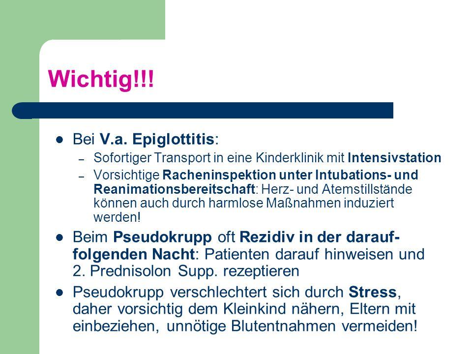 Fremdkörperaspiration - Therapie Keine blinde Extraktion des Fremdkörpers versuchen, da dieser weiter in die Atemwege verlagert werden kann Wenn klinisch stabil: Engmaschige Beobachtung, Beruhigung, bei Zyanose O2-Vorlage, Transport in die Klinik zur Bronchoskopie Bei Dyspnoe / Stridor: zum Husten auffordern, kräftige Rückenschläge, bei Erfolglosigkeit: Heimlich-Mannöver (nicht bei Kindern unter einem Jahr!)