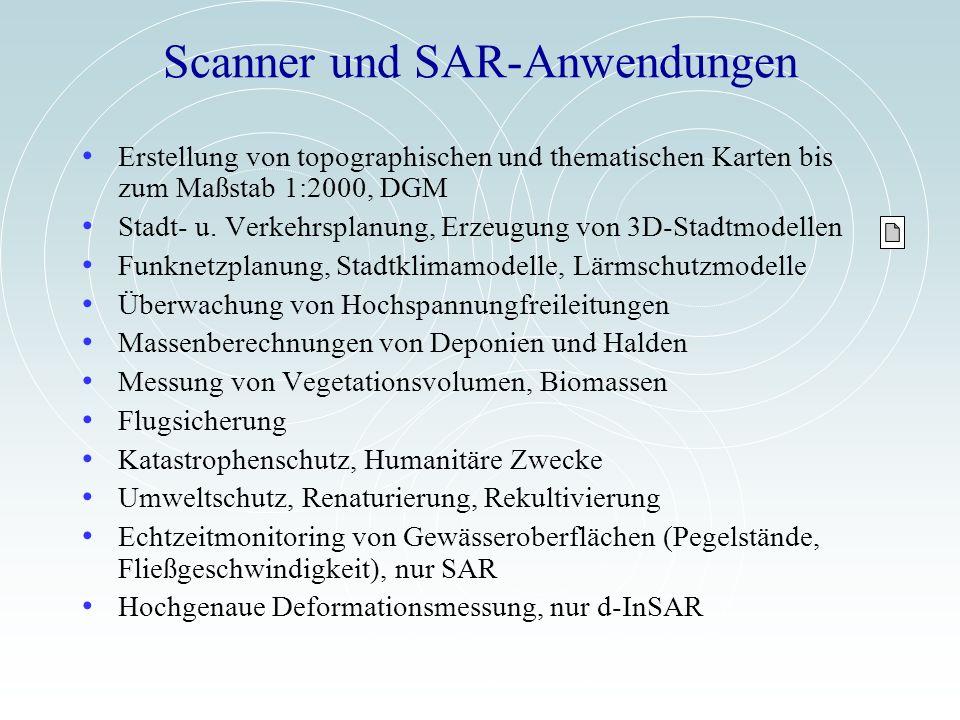 Scanner und SAR-Anwendungen Erstellung von topographischen und thematischen Karten bis zum Maßstab 1:2000, DGM Stadt- u. Verkehrsplanung, Erzeugung vo