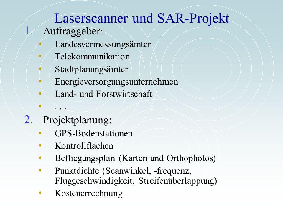 Laserscanner und SAR-Projekt 1. Auftraggeber : Landesvermessungsämter Telekommunikation Stadtplanungsämter Energieversorgungsunternehmen Land- und For