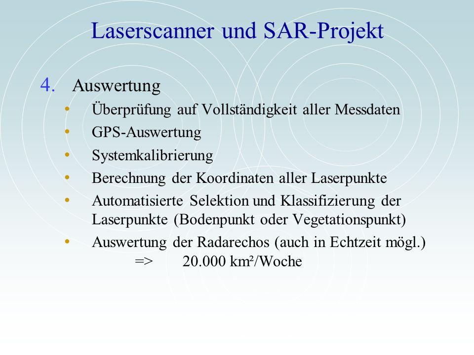 Laserscanner und SAR-Projekt 4. Auswertung Überprüfung auf Vollständigkeit aller Messdaten GPS-Auswertung Systemkalibrierung Berechnung der Koordinate
