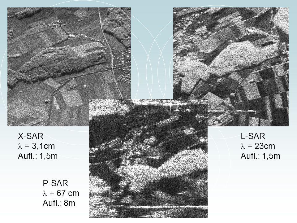 X-SAR = 3,1cm Aufl.: 1,5m L-SAR = 23cm Aufl.: 1,5m P-SAR = 67 cm Aufl.: 8m