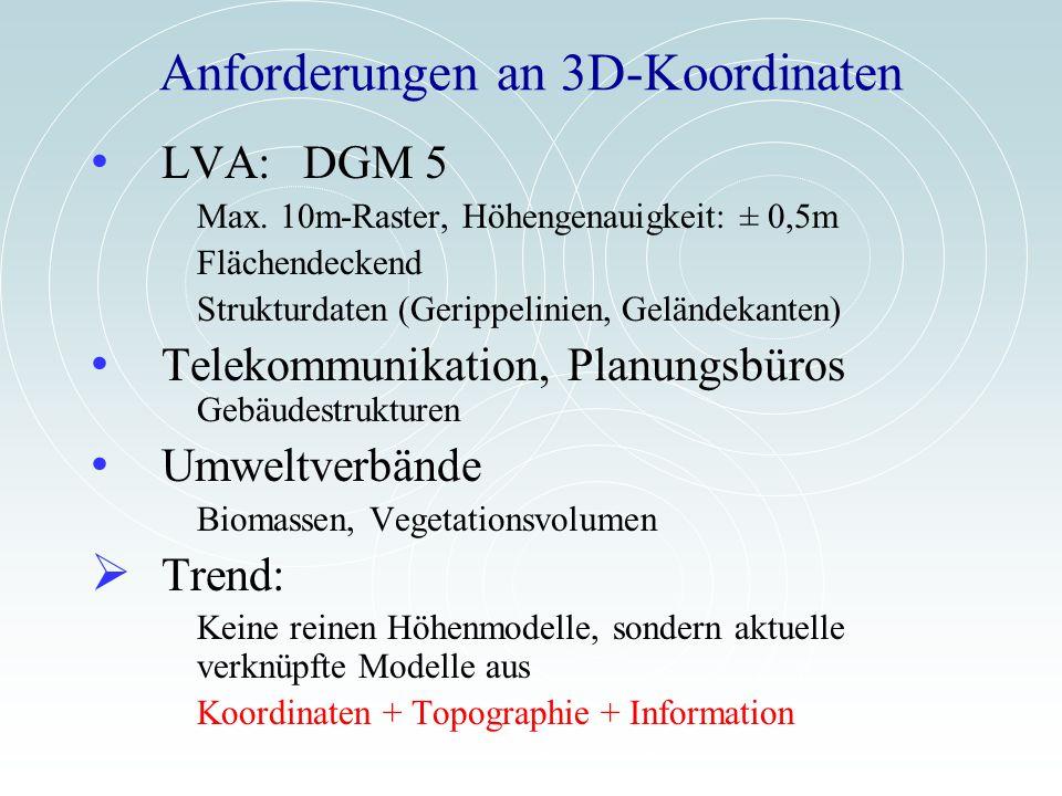 Anforderungen an 3D-Koordinaten LVA:DGM 5 Max. 10m-Raster, Höhengenauigkeit: ± 0,5m Flächendeckend Strukturdaten (Gerippelinien, Geländekanten) Teleko
