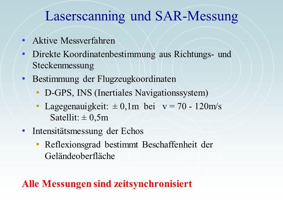 Laserscanning und SAR-Messung Aktive Messverfahren Direkte Koordinatenbestimmung aus Richtungs- und Steckenmessung Bestimmung der Flugzeugkoordinaten