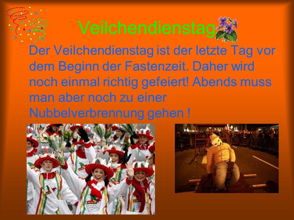 Rosenmontag Das ist der Höhepunkt des Kölner Karnevals. In Kostümen, mit viel Musik und lustigen Liedern ziehen die Menschen an Karneval durch die Str