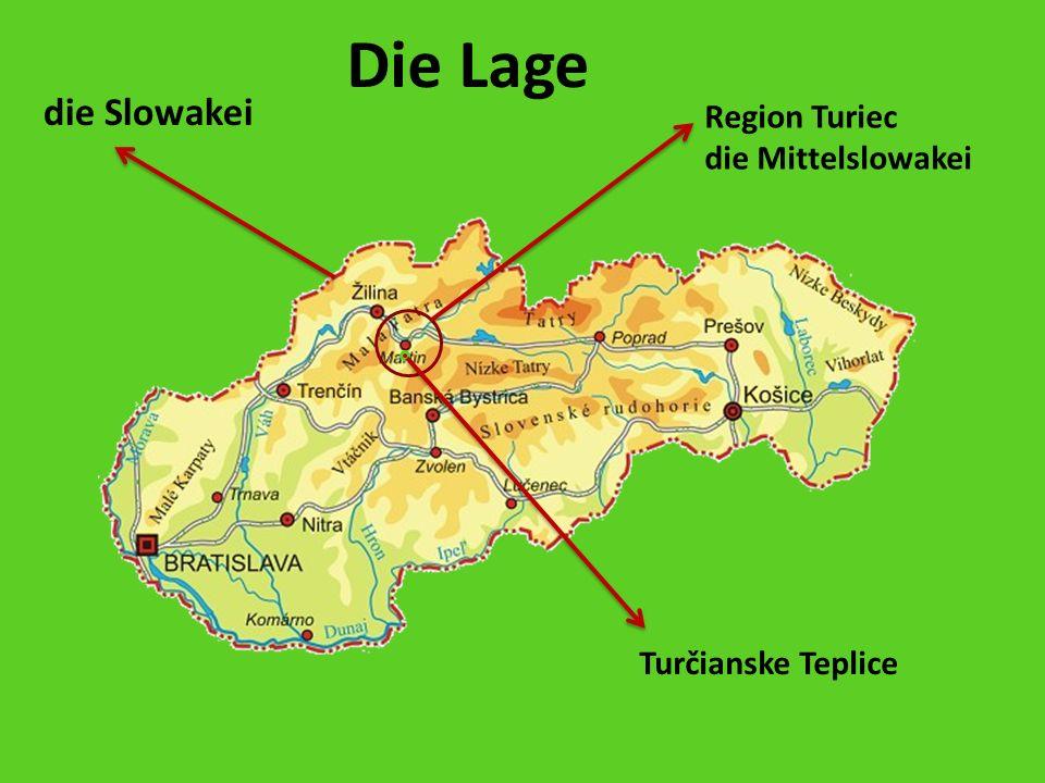 Region Turiec die Mittelslowakei Turčianske Teplice die Slowakei Die Lage